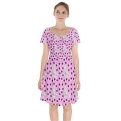 Deer Boots Pink Grey Short Sleeve Bardot Dress by snowwhitegirl
