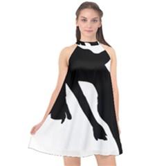 Pole Dancer Silhouette Halter Neckline Chiffon Dress  by Jojostore