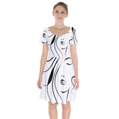 Womans Face Line Short Sleeve Bardot Dress