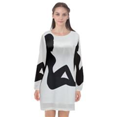 Girls Of Fitness Long Sleeve Chiffon Shift Dress