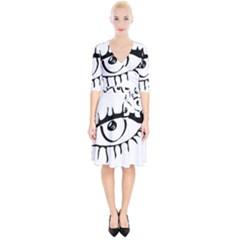 Drawn Eye Transparent Monster Big Wrap Up Cocktail Dress