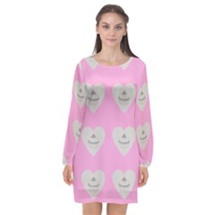 Cupcake Pink Grey Long Sleeve Chiffon Shift Dress  by snowwhitegirl