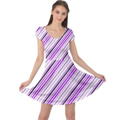 Purple Diagonal Lines Cap Sleeve Dress by snowwhitegirl