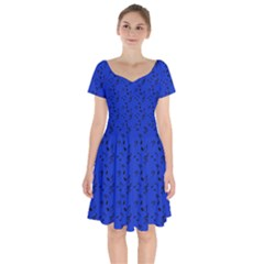 Royal Blue Music Short Sleeve Bardot Dress by snowwhitegirl