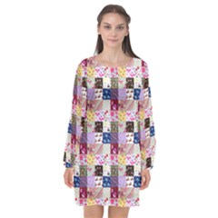 Quilt Of My Patterns Small Long Sleeve Chiffon Shift Dress  by snowwhitegirl