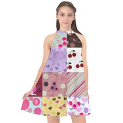 Quilt Of My Patterns Halter Neckline Chiffon Dress  by snowwhitegirl
