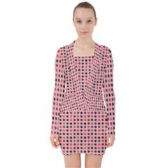 Grey Red Eggs On Pink V-neck Bodycon Long Sleeve Dress by snowwhitegirl