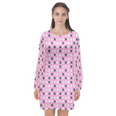 Teal White Eggs On Pink Long Sleeve Chiffon Shift Dress  by snowwhitegirl