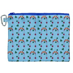 Winter Hat Red Green Hearts Snow Blue Canvas Cosmetic Bag (xxl) by snowwhitegirl