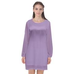 Grape Light Long Sleeve Chiffon Shift Dress  by snowwhitegirl