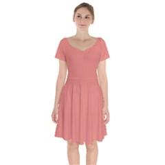Late Peach Short Sleeve Bardot Dress by snowwhitegirl