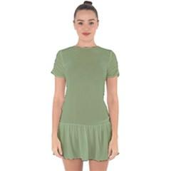 Tree Green Drop Hem Mini Chiffon Dress by snowwhitegirl