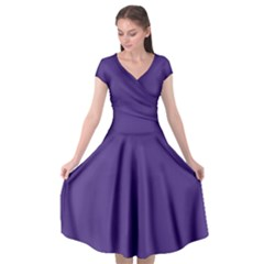 Dark Grape Purple Cap Sleeve Wrap Front Dress by snowwhitegirl