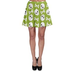 Skull Bone Mask Face White Green Skater Skirt by Alisyart