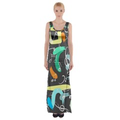 Repetition Seamless Child Sketch Maxi Thigh Split Dress