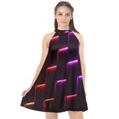 Mode Background Abstract Texture Halter Neckline Chiffon Dress