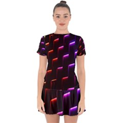 Mode Background Abstract Texture Drop Hem Mini Chiffon Dress by Nexatart