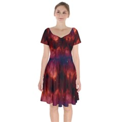 Astronomy Space Galaxy Fog Short Sleeve Bardot Dress