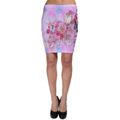 Nice Nature Flowers Plant Ornament Bodycon Skirt