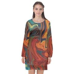 Creativity Abstract Art Long Sleeve Chiffon Shift Dress