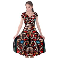 Decoration Art Pattern Ornate Cap Sleeve Wrap Front Dress by Nexatart