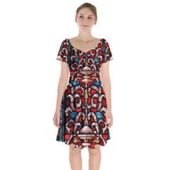 Decoration Art Pattern Ornate Short Sleeve Bardot Dress by Nexatart