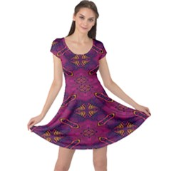Pattern Decoration Art Abstract Cap Sleeve Dress