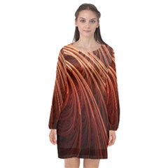Abstract Fractal Digital Art Long Sleeve Chiffon Shift Dress  by Nexatart