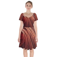 Abstract Fractal Digital Art Short Sleeve Bardot Dress by Nexatart