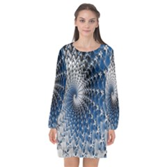 Mandelbrot Fractal Abstract Ice Long Sleeve Chiffon Shift Dress  by Nexatart