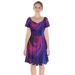Abstract Pattern Art Wallpaper Short Sleeve Bardot Dress