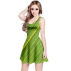 Leaf Plant Nature Pattern Reversible Sleeveless Dress