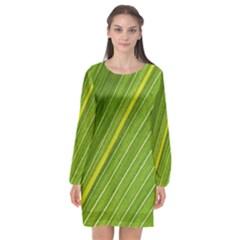 Leaf Plant Nature Pattern Long Sleeve Chiffon Shift Dress