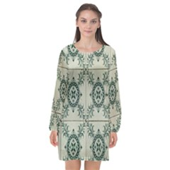 Jugendstil Long Sleeve Chiffon Shift Dress  by Nexatart