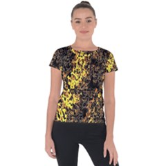 The Background Wallpaper Gold Short Sleeve Sports Top  by Nexatart