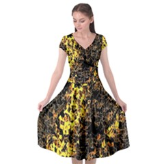The Background Wallpaper Gold Cap Sleeve Wrap Front Dress by Nexatart