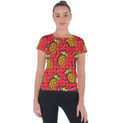 Fruit Pineapple Red Yellow Green Short Sleeve Sports Top  by Alisyart