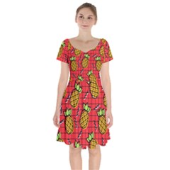 Fruit Pineapple Red Yellow Green Short Sleeve Bardot Dress by Alisyart