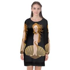 The Birth Of Venus Long Sleeve Chiffon Shift Dress  by Valentinaart