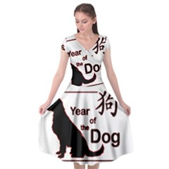 Year Of The Dog - Chinese New Year Cap Sleeve Wrap Front Dress by Valentinaart