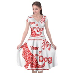 Year Of The Dog   Chinese New Year Cap Sleeve Wrap Front Dress by Valentinaart