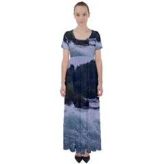Sightseeing At Niagara Falls High Waist Short Sleeve Maxi Dress by canvasngiftshop