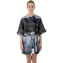 Sightseeing At Niagara Falls Quarter Sleeve Kimono Robe by canvasngiftshop