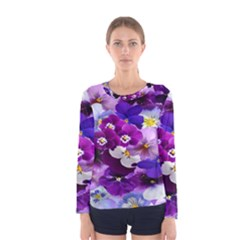 Graphic Background Pansy Easter Women s Long Sleeve Tee by Onesevenart