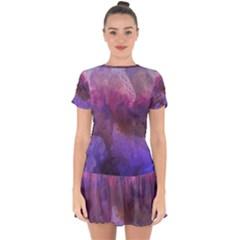 Ultra Violet Dream Girl Drop Hem Mini Chiffon Dress by 8fugoso
