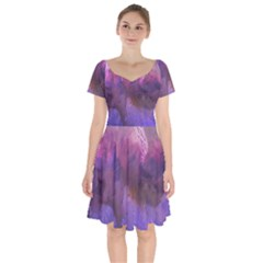 Ultra Violet Dream Girl Short Sleeve Bardot Dress by 8fugoso