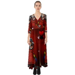 Funny, Cute Parrot With Butterflies Button Up Boho Maxi Dress by FantasyWorld7