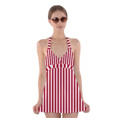 Red Stripes Halter Dress Swimsuit  by jumpercat