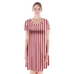 Red Stripes Short Sleeve V Neck Flare Dress by jumpercat