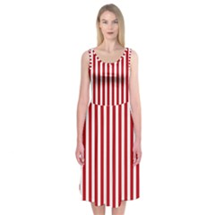 Red Stripes Midi Sleeveless Dress by jumpercat